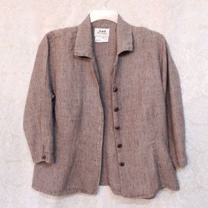 FLAX Light Brown Linen Shirt Size Large
